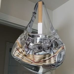 Authentic Silver/Checked Burberry Bucket Bag Med.